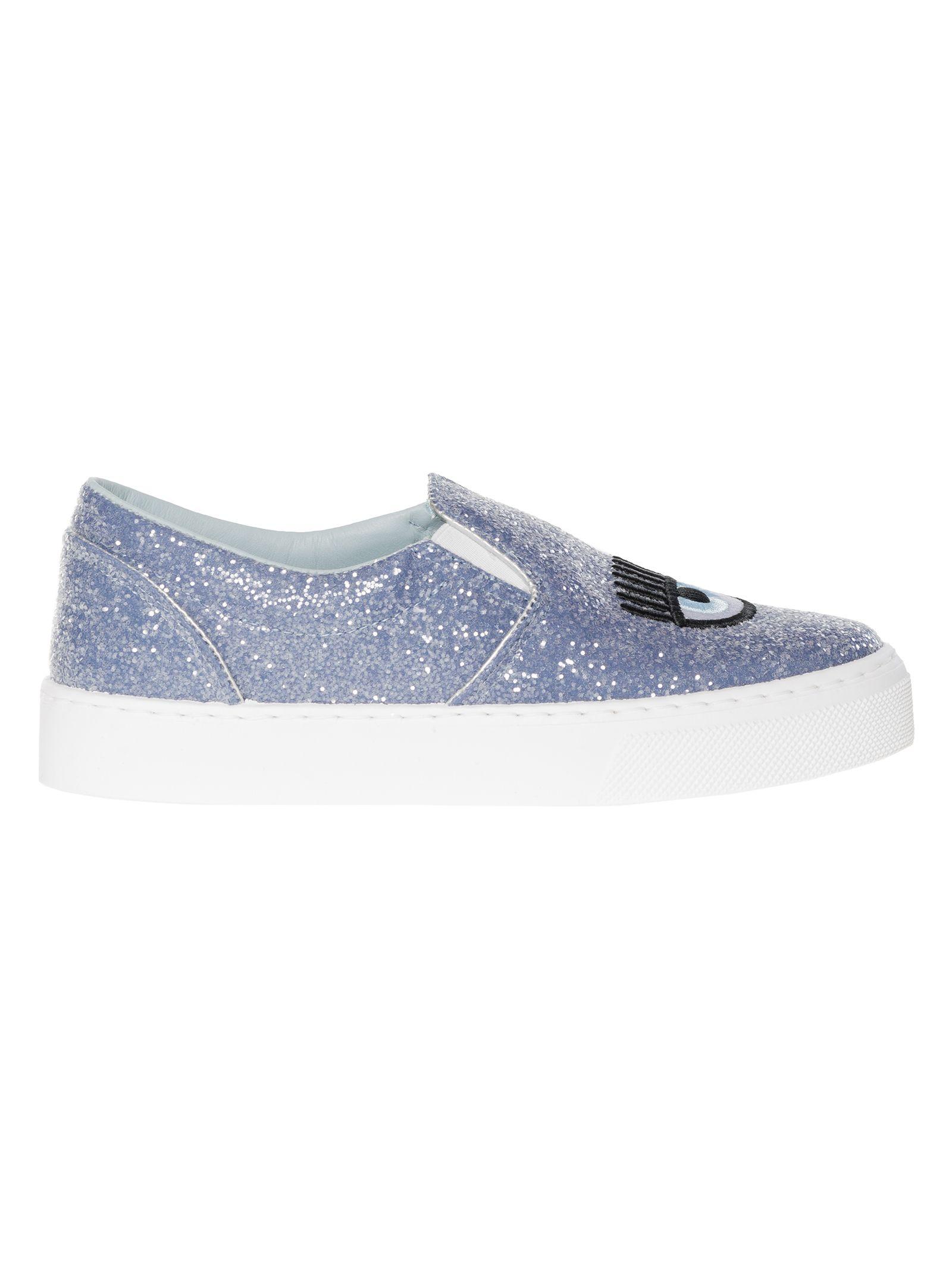 Chiara Ferragni Glitter Eye Slip On Sneakers