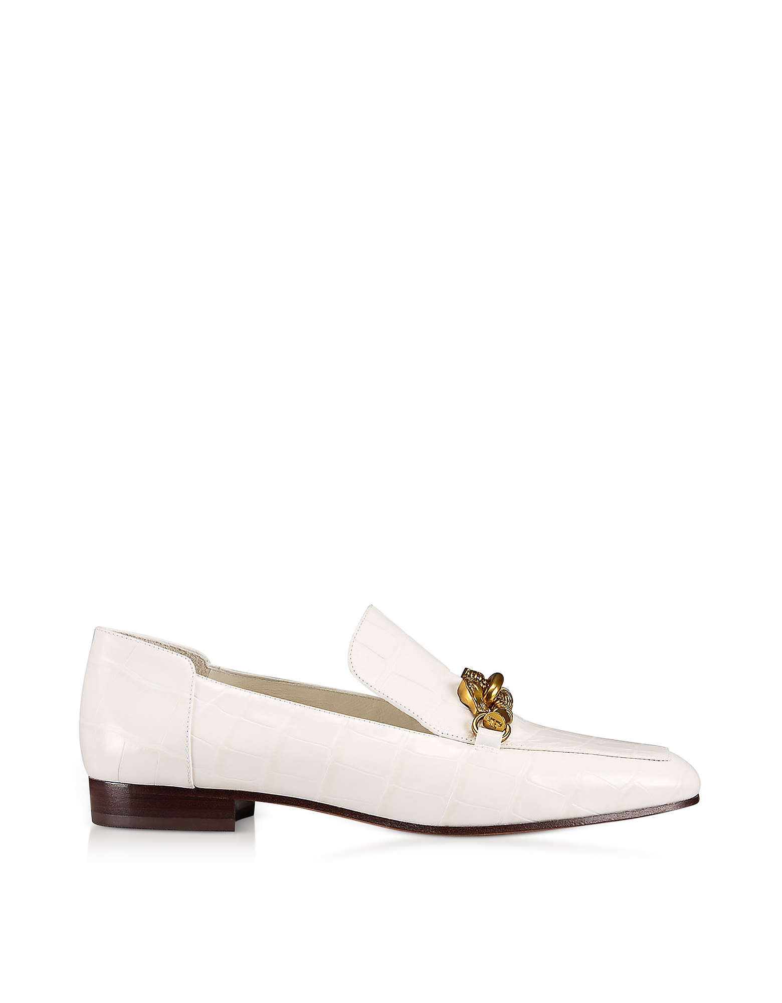 db5a5e965a7 TORY BURCH JESSA WHITE CROCO EMBOSSED LEATHER LOAFERS W-GOLDTONE HORSE  HARDWARE