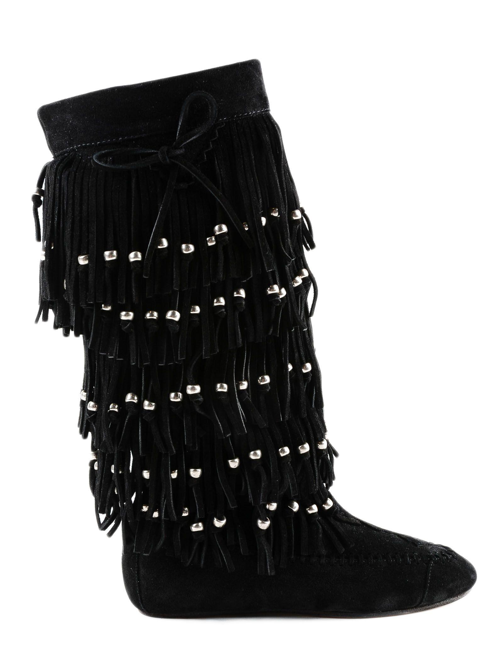 Nino Fringe Boots in Black