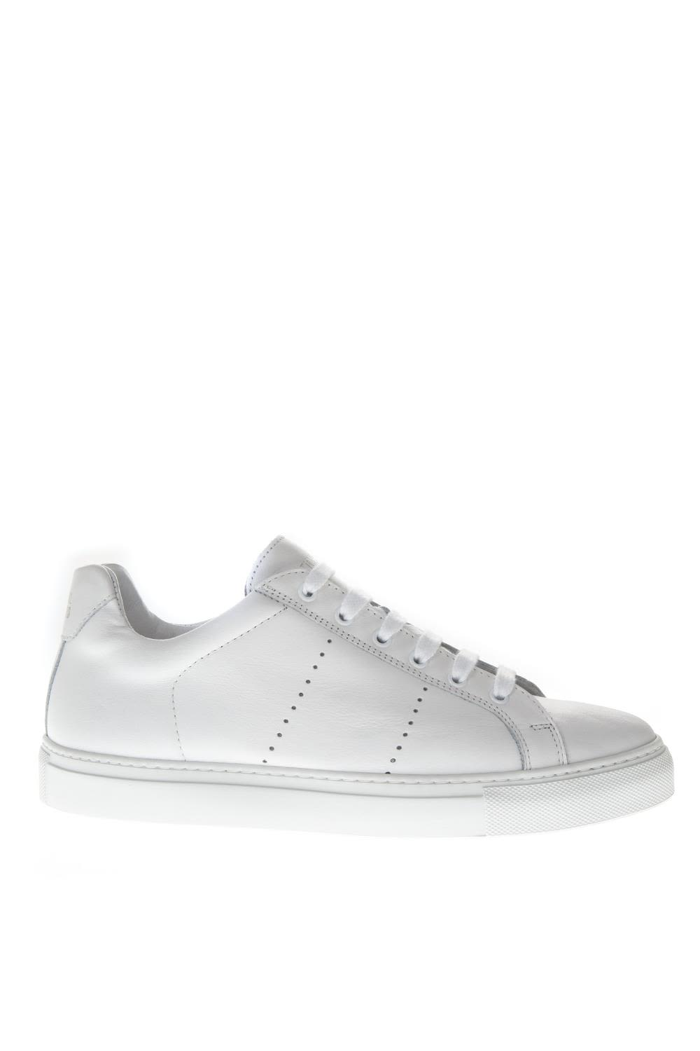 NATIONAL STANDARD White Holes Leather Sneakers