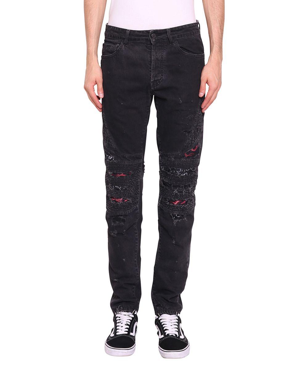 Marcelo Burlon Snake Biker Denim Cotton Jeans 10155155