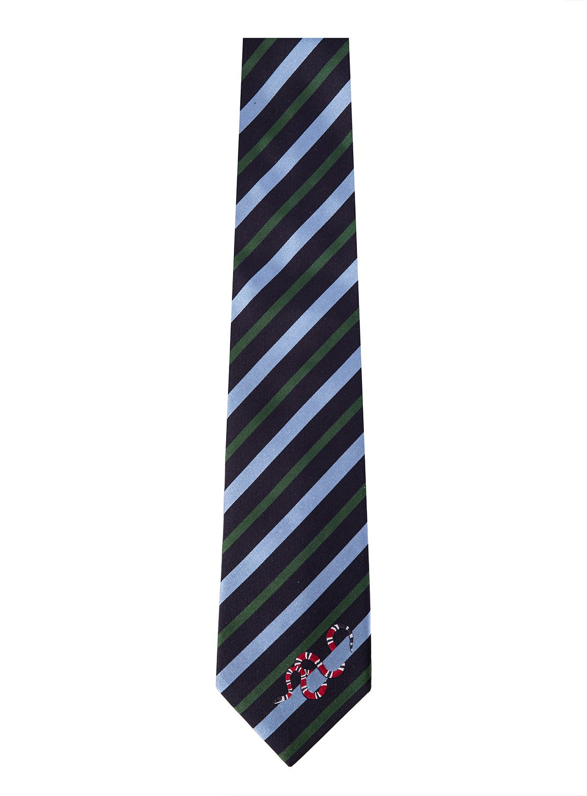 1c3e73550f45 GUCCI STRIPED SILK TIE WITH KINGSNAKE