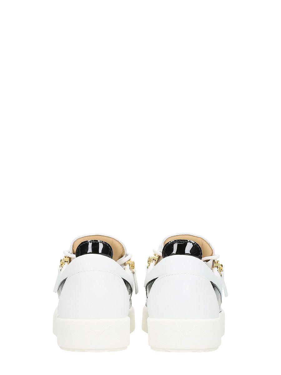 Chaussures De Sport En Cuir Blanc De Zanotti Avec Des Pièces Giuseppe Verni Noir 1W6pCOF50
