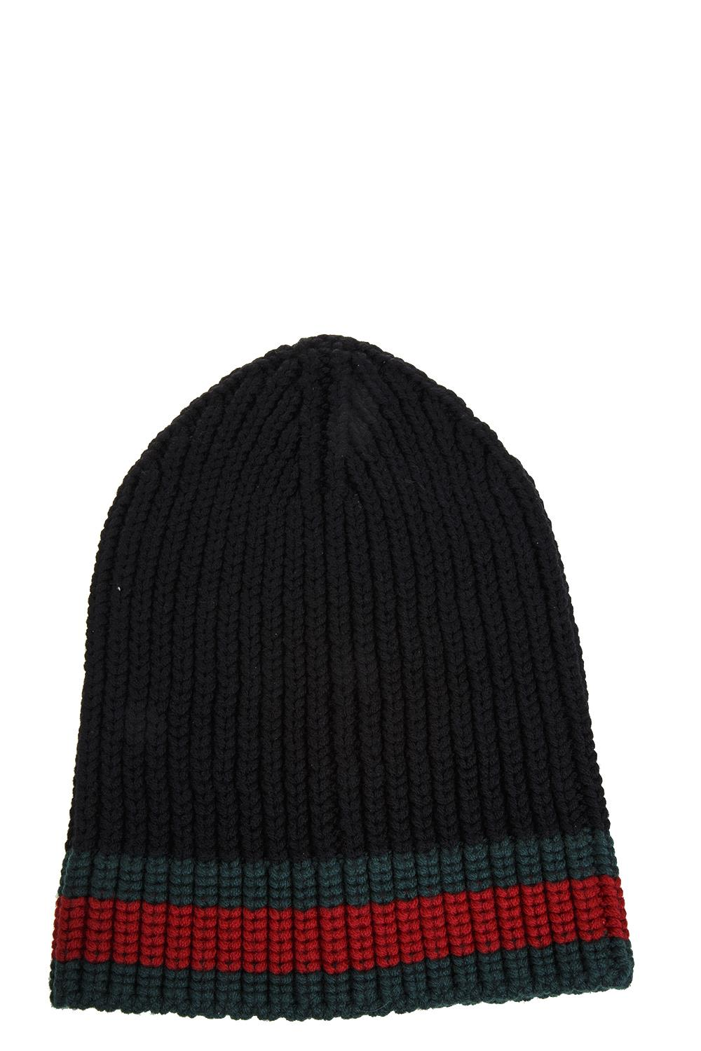 Gucci Web Wool Cable Knit Beanie Hat In Black  a33169851dd