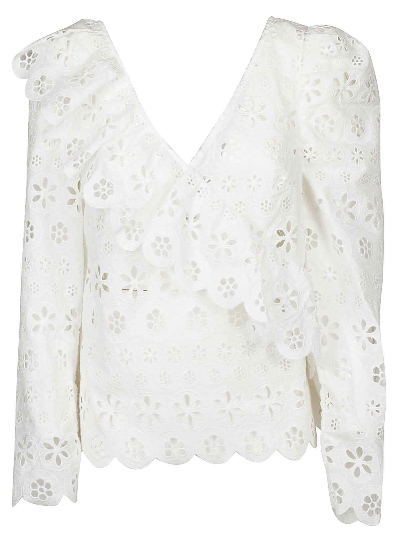 Self-Portrait floral broderie frill top Clearance Pay With Visa Many Kinds Of Cheap Online Buy Online New Brand New Unisex Cheap Price Cool gEJG8