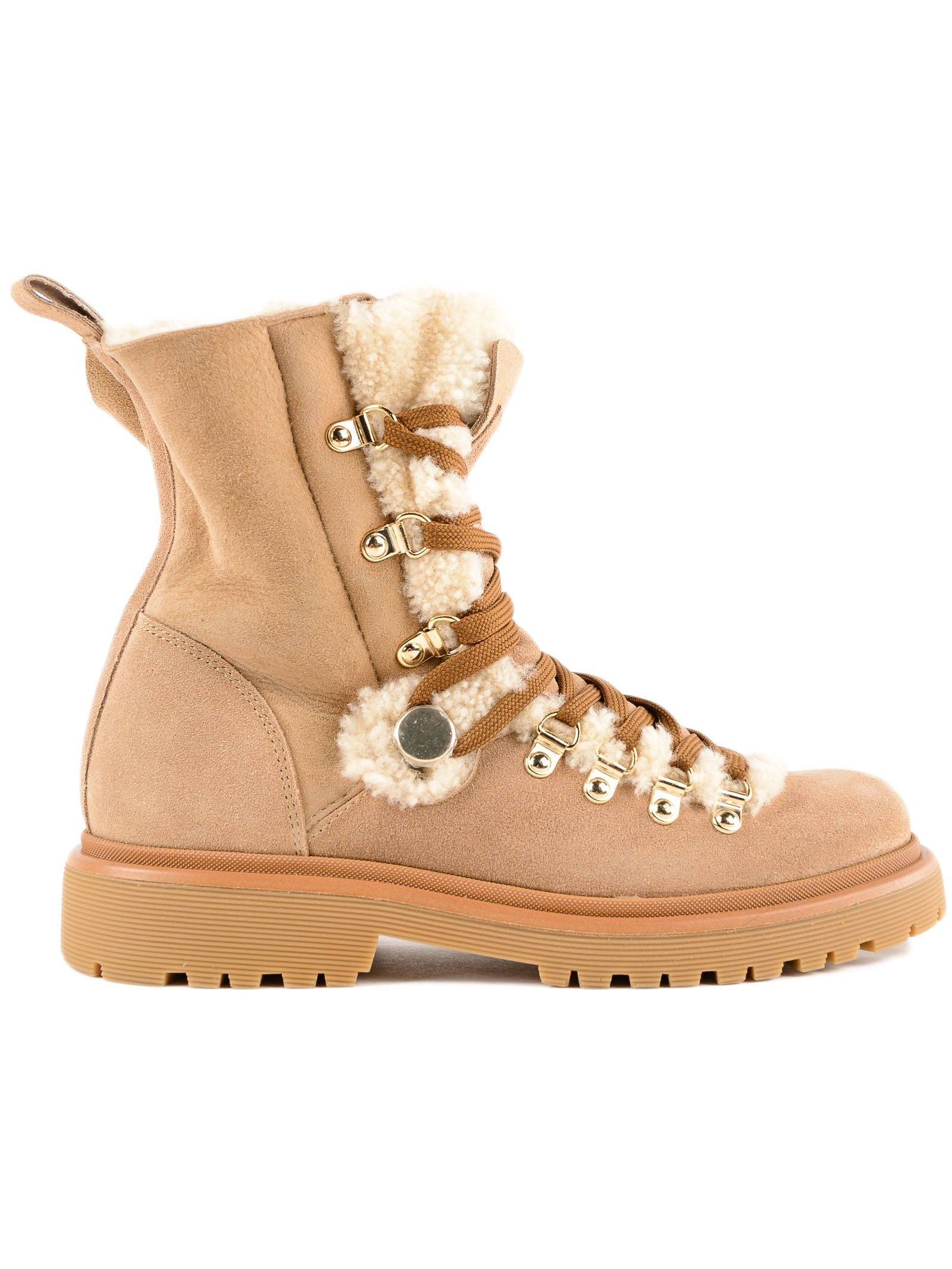 moncler -  Glitter Shearling Lined Hiking Boots