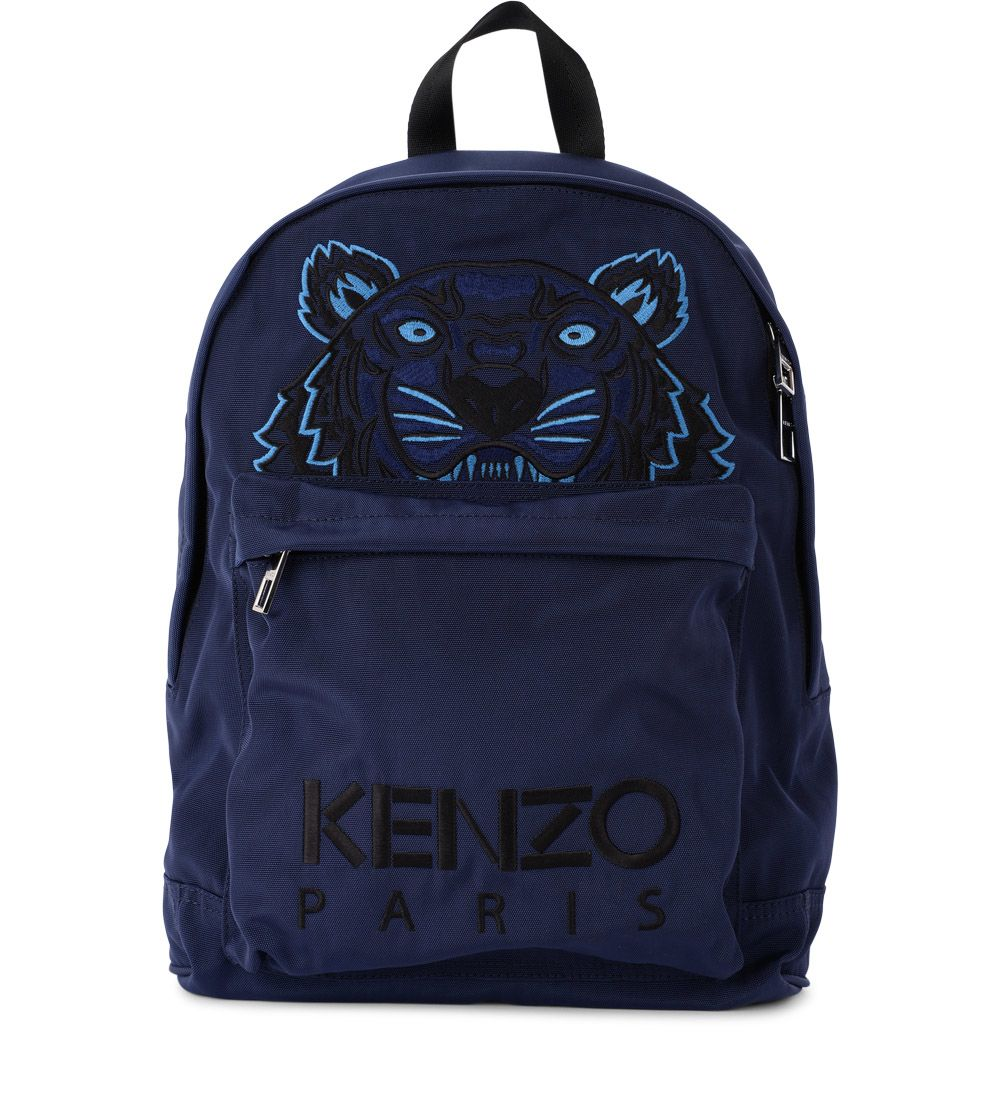 BLUE FABRIC BACKPACK WITH TIGER