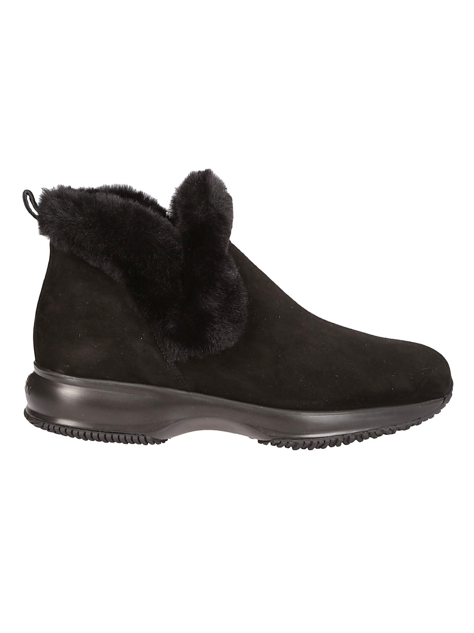 HOGAN FUR TRIMMED BOOTS