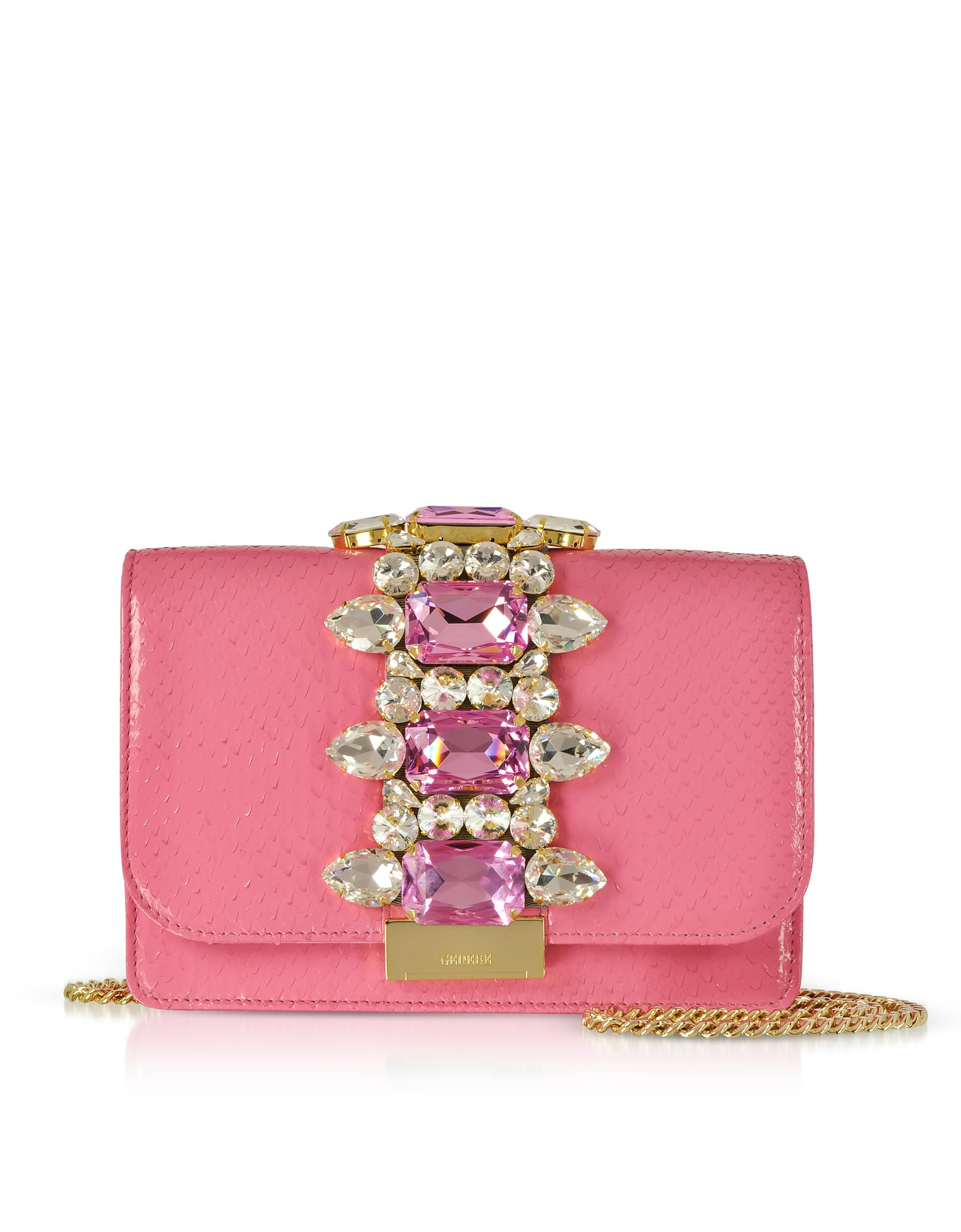 GEDEBE CLIKY BARBIE PYTHON CLUTCH W-CRYSTALS AND CHAIN STRAP