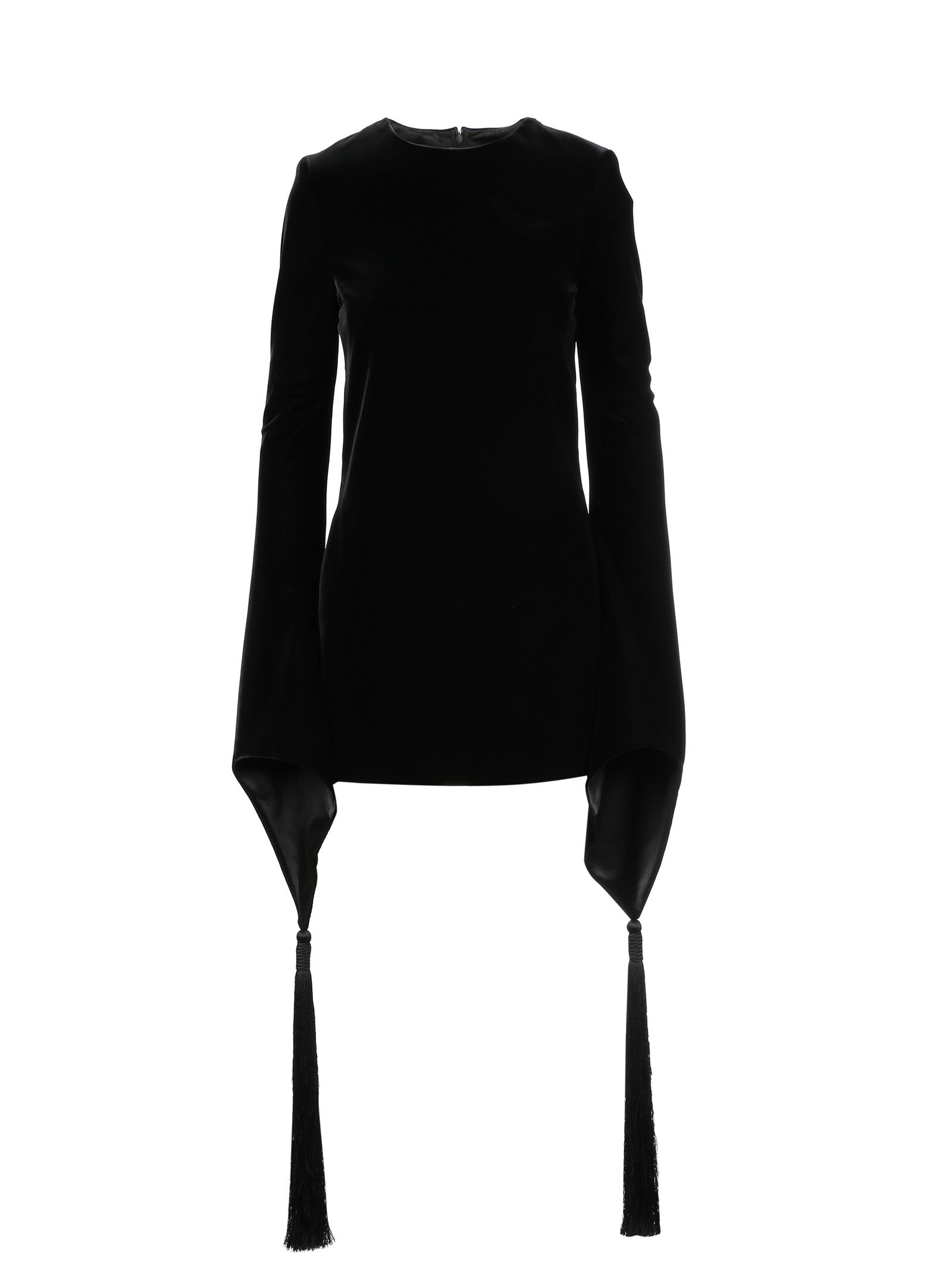 Silk Velvet Mini Dress W/ Tassels in Black from Al Duca d'Aosta