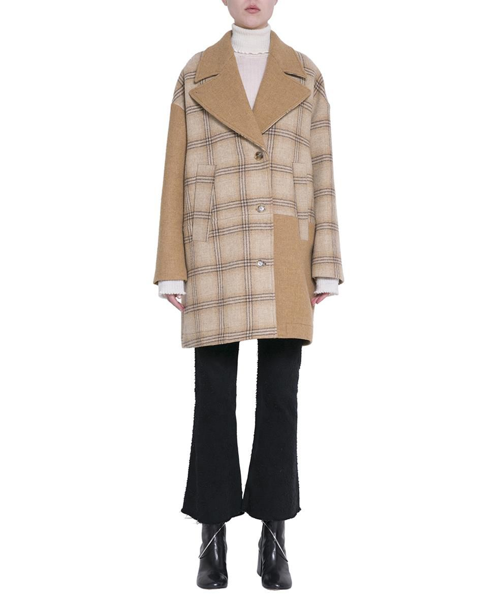 Oversized Patchwork Checked Wool Coat, Beige Solid