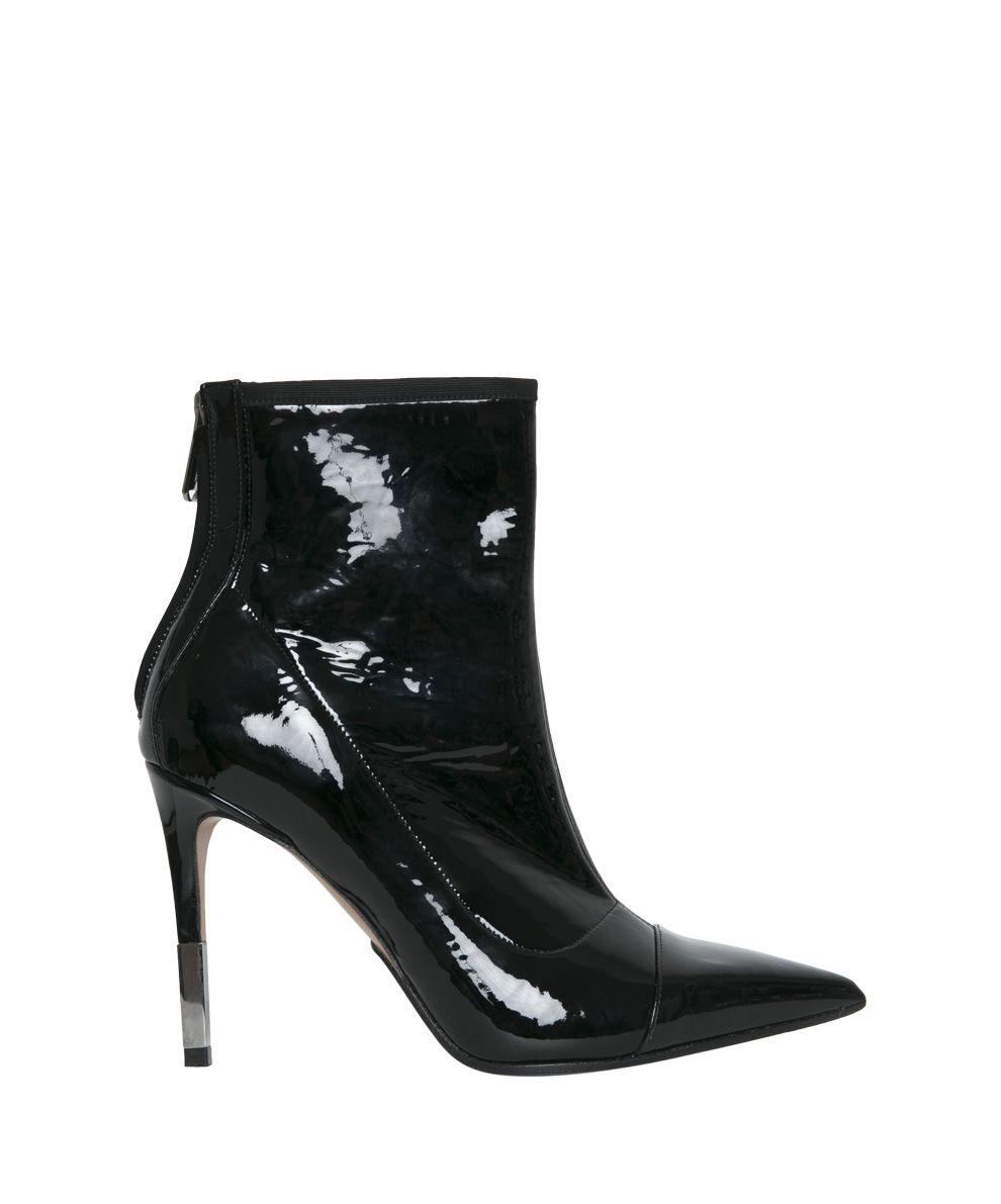 Balmain Black Vinyl Ankle Boots