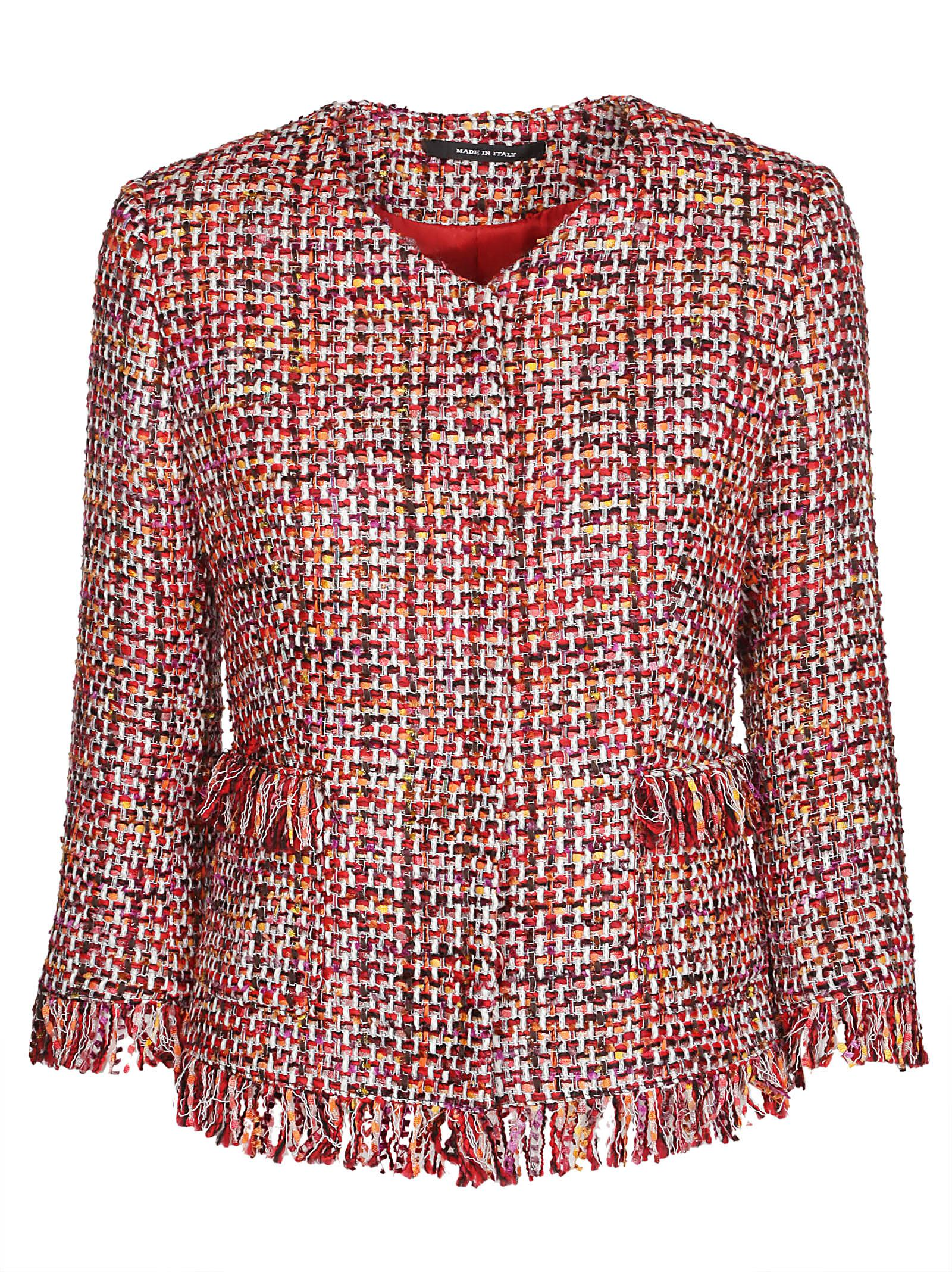 TAGLIATORE Milly Tweed Jacket in Red
