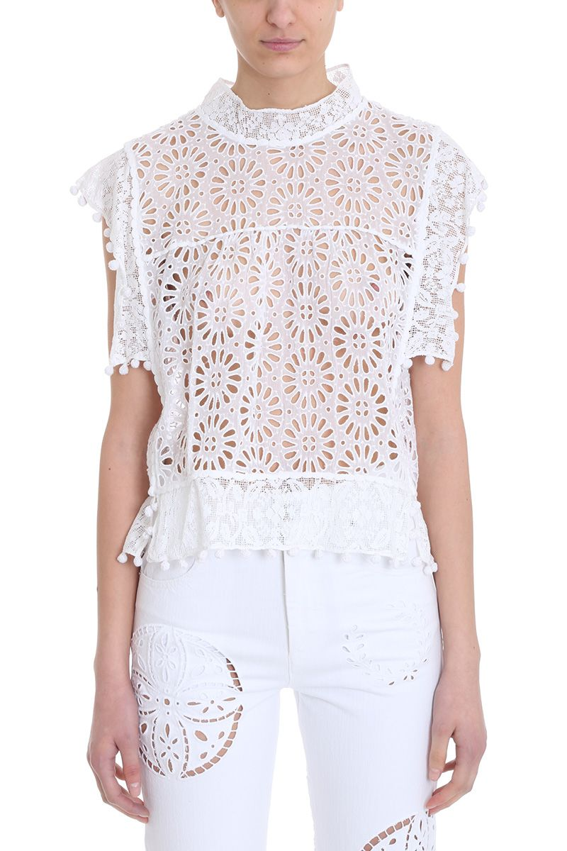 5aafbc4ed2 Isabel Marant Kery Broderie-Anglaise Pompom-Trimmed Top In White ...