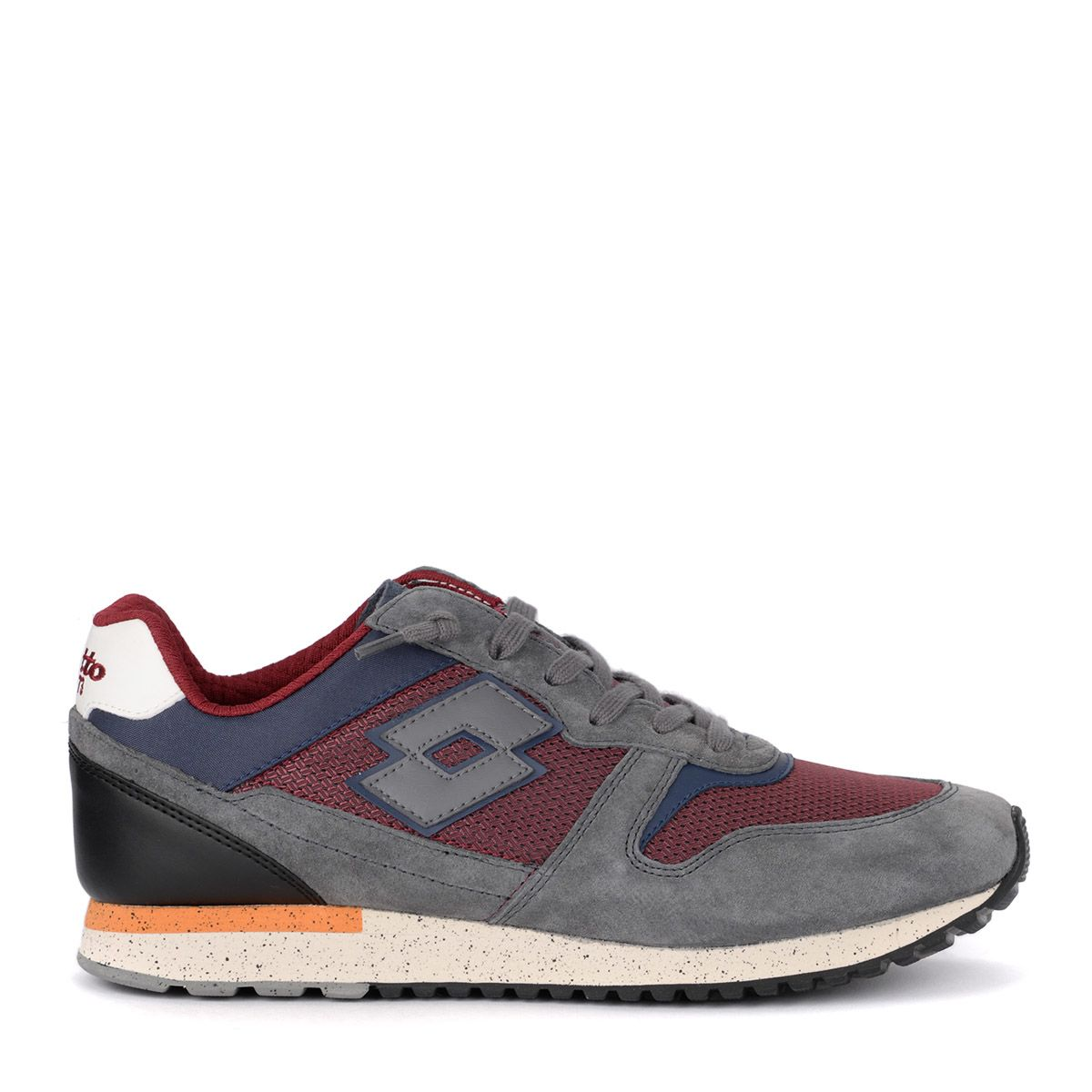 LOTTO LEGGENDA Lotto Tokyo Ginza Grey Suede And Red Fabric Sneaker in Multicolor