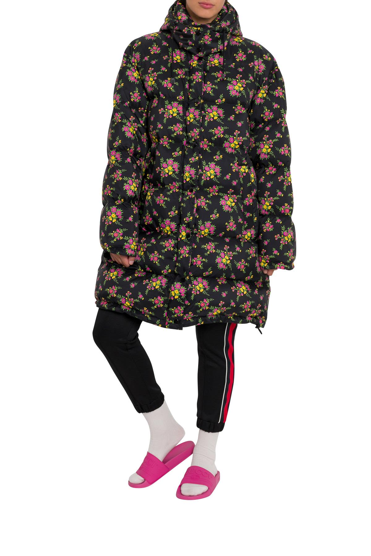 OVERSIZED DOWN JACKET WITH FLORAL PRINT