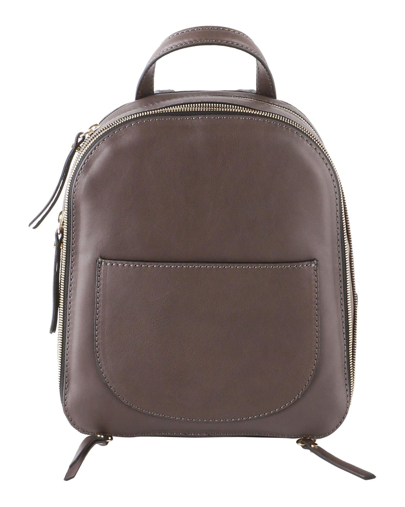 GIANNI CHIARINI Saffiano Leather Backpack in Brown
