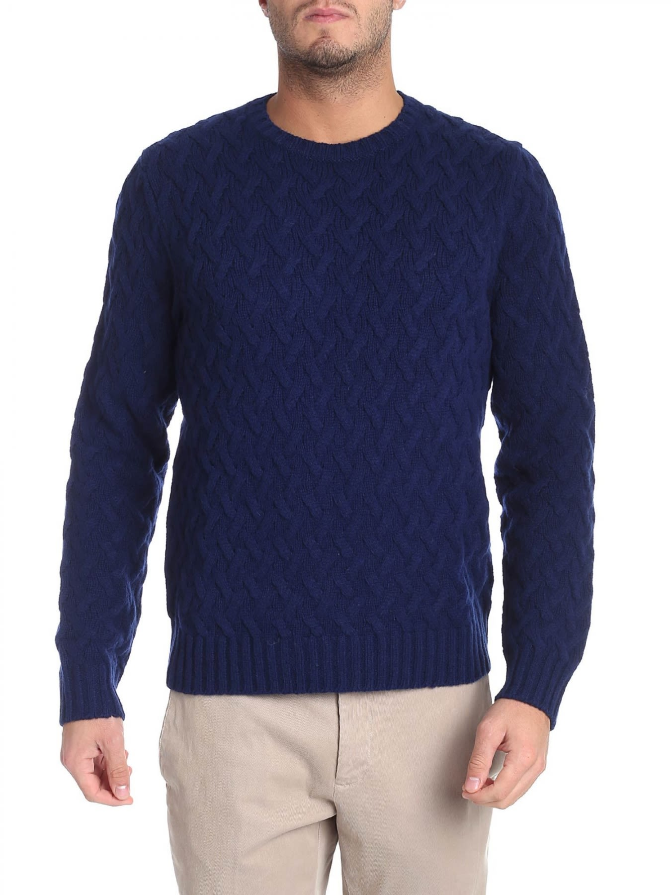 BROOKS BROTHERS Round Neck Lamb'S Wool in Blue