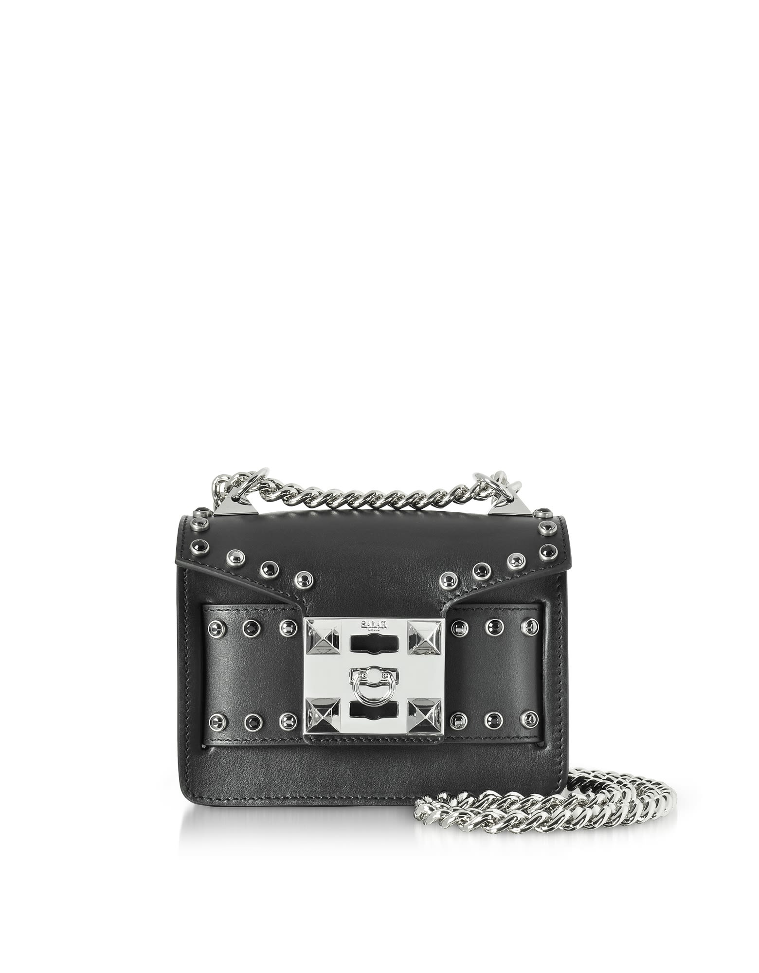 Salar STUDDED LEATHER GAIA RING SHOULDER BAG