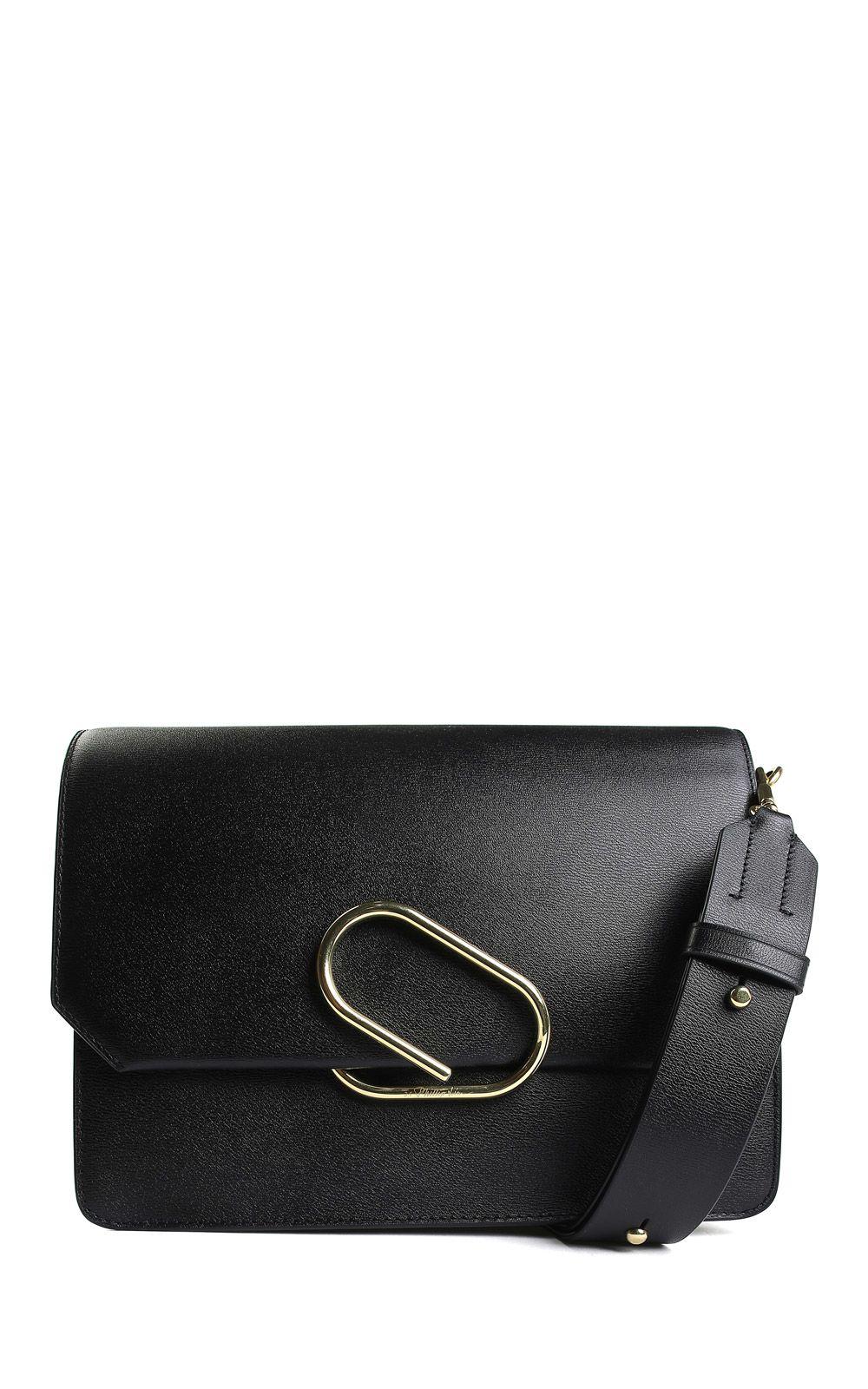 Alix Smooth-Leather Shoulder Bag, Nero