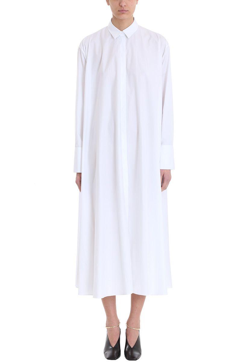 jil sander -  White Cotton Loose Fit Shirt Dress