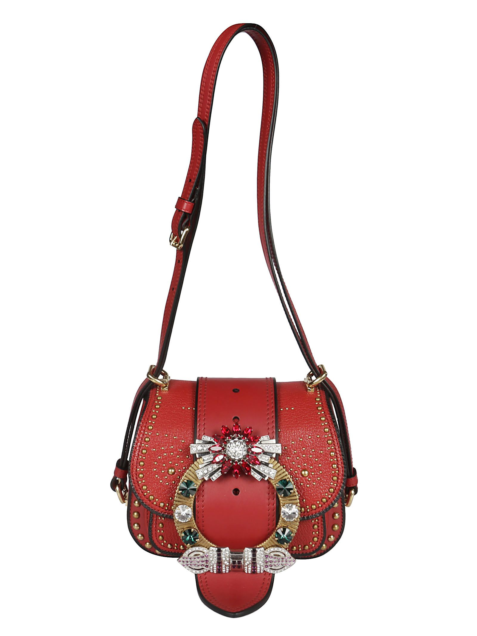 f33b1a1c503f Miu Miu Madras Shoulder Bag In Red
