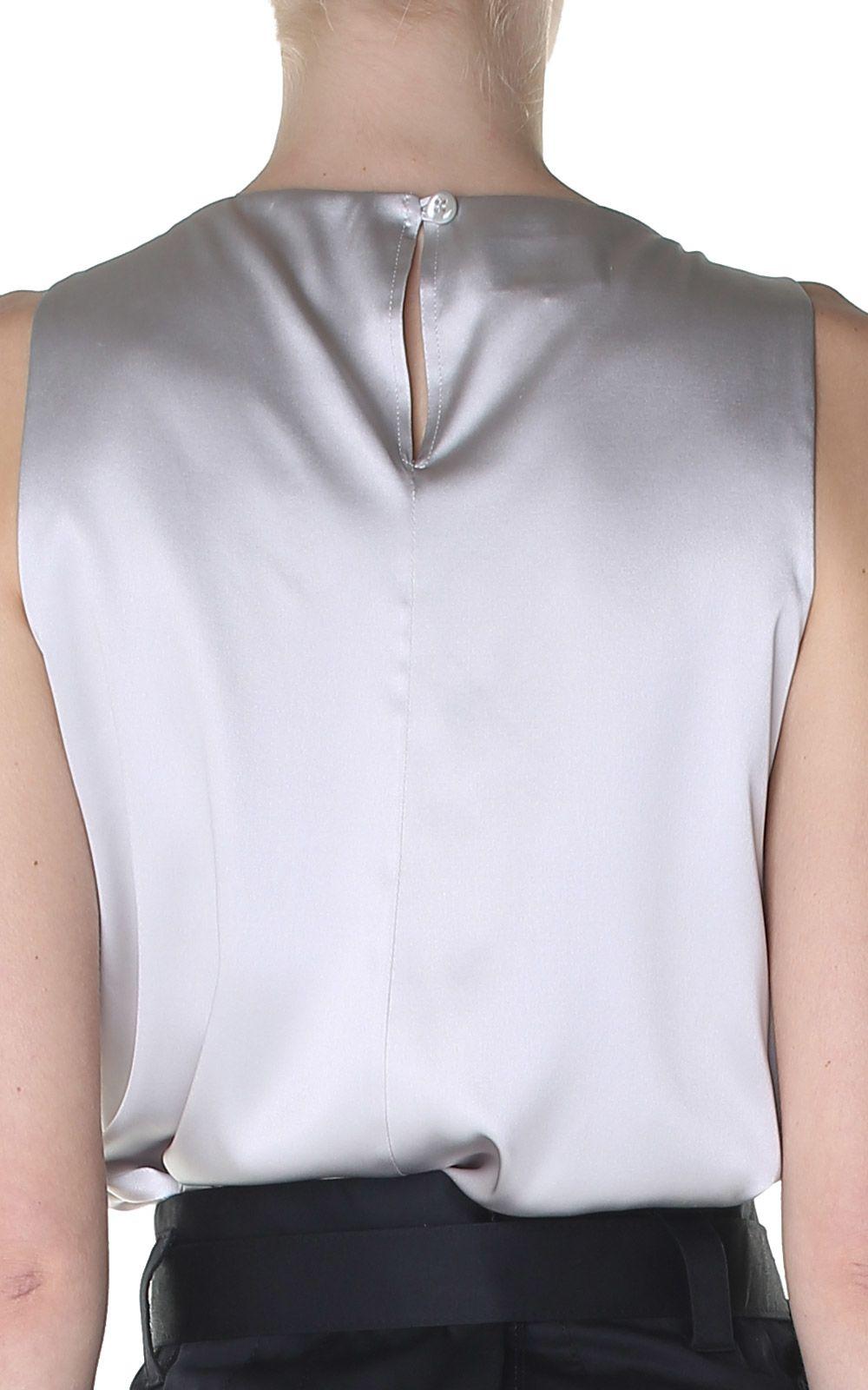 Silk-satin sleeveless top Giorgio Armani 2018 Cheap Price exBy7LZ