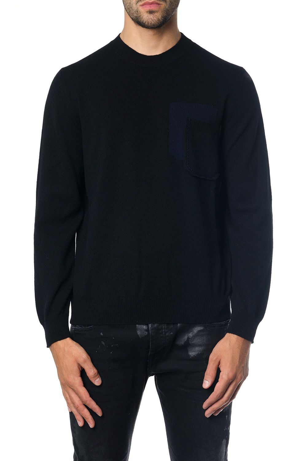 MARNI BLACK RIBBED KNITWEAR IN CACHEMIRE