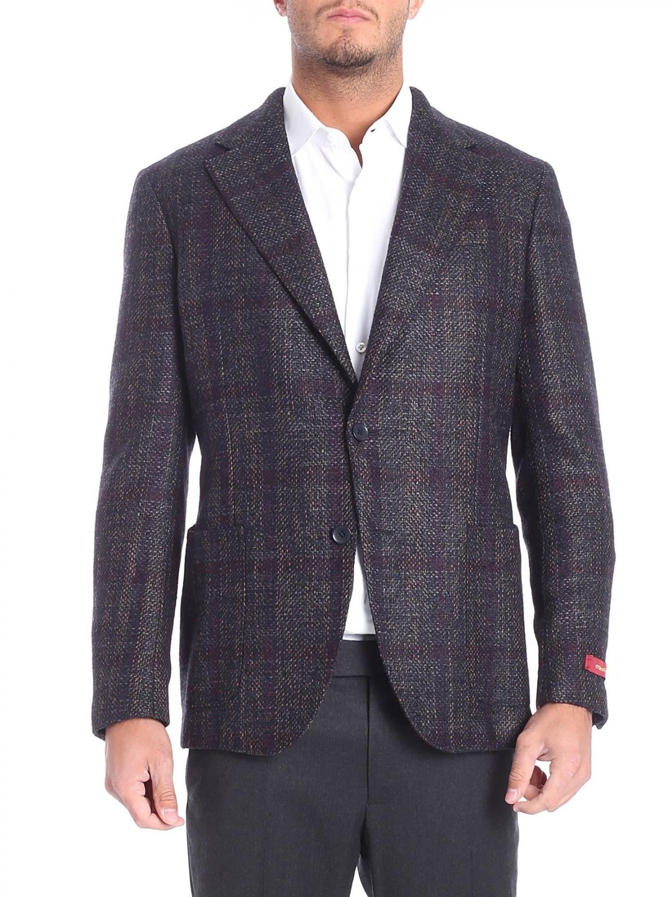 ERNESTO ESPOSITO Double-Breasted Woolen Cloth Jacket in Gray