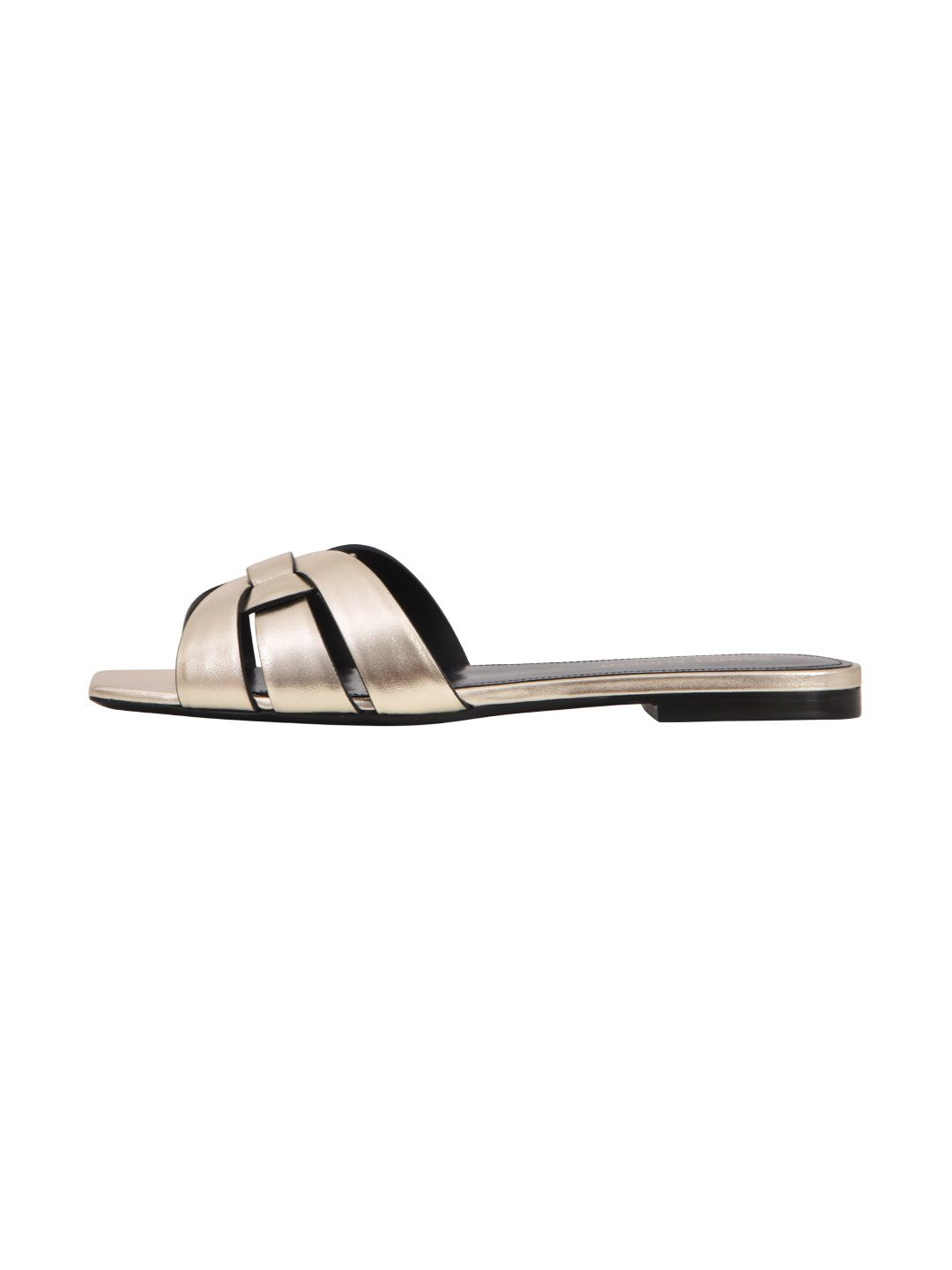 ef9d4d80718 Saint Laurent Nu Pieds Flat Sandals In Platinum