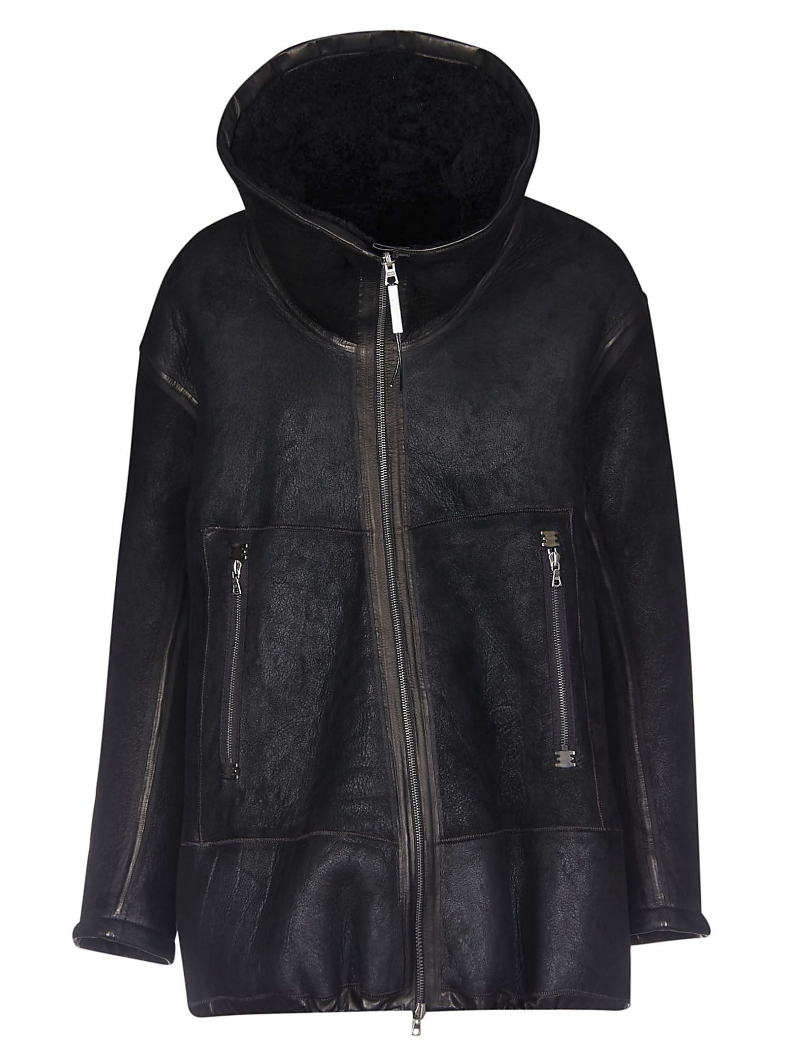 ISAAC SELLAM Short-Length Funnel Neck Jacket in Black