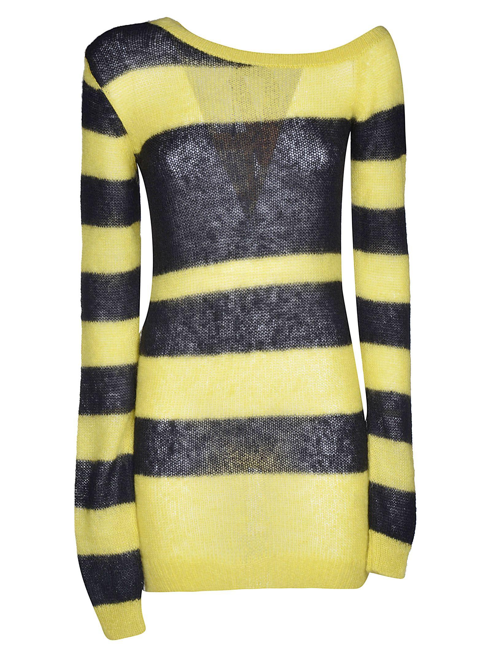 N21 Lupe Striped Sweater In Yellowblack Modesens