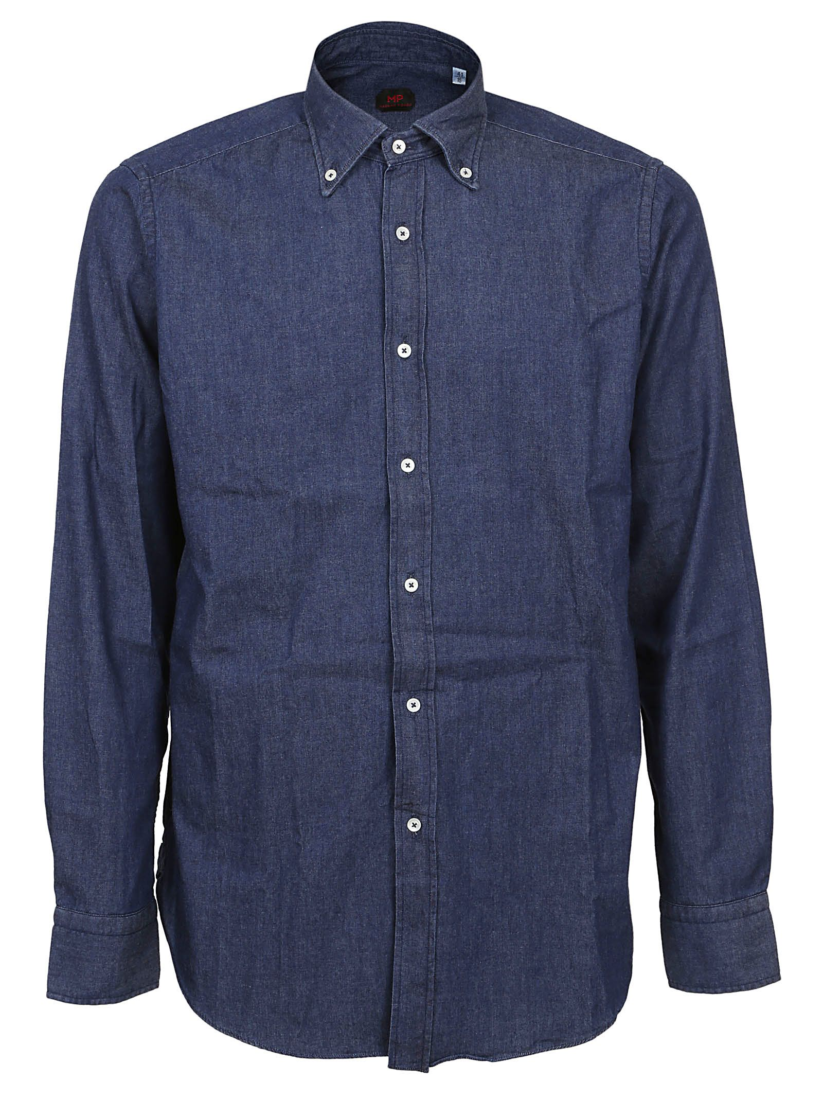 MASSIMO PIOMBO Button Down Shirt in Denim Scuro