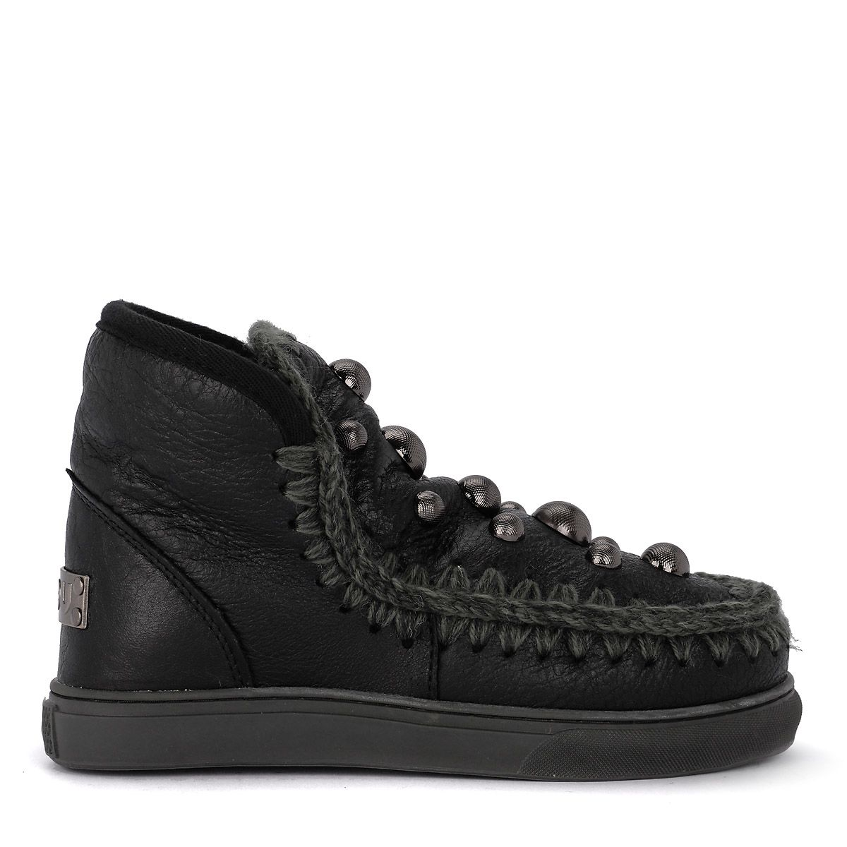 Mou ESKIMO SNEAKER ROUND STUDS BLACK LEATHER ANKLE BOOTS WITH STUDS