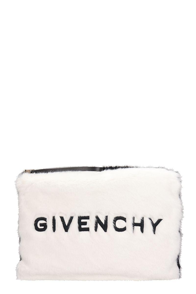 Givenchy Pouches LARGE WHITE FAUX FUR POCHETTE