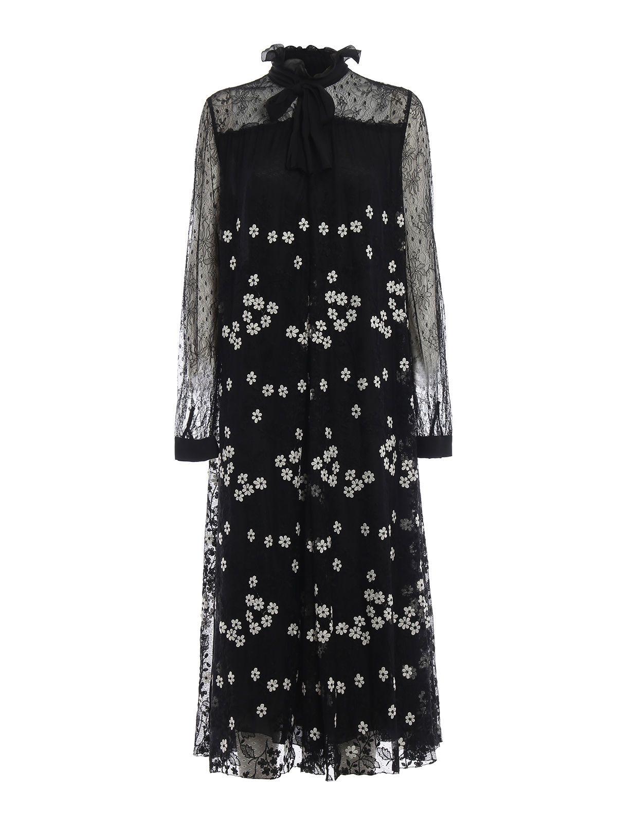 GIAMBATTISTA VALLI Floral Embroidered Lace Midi Dress in Black