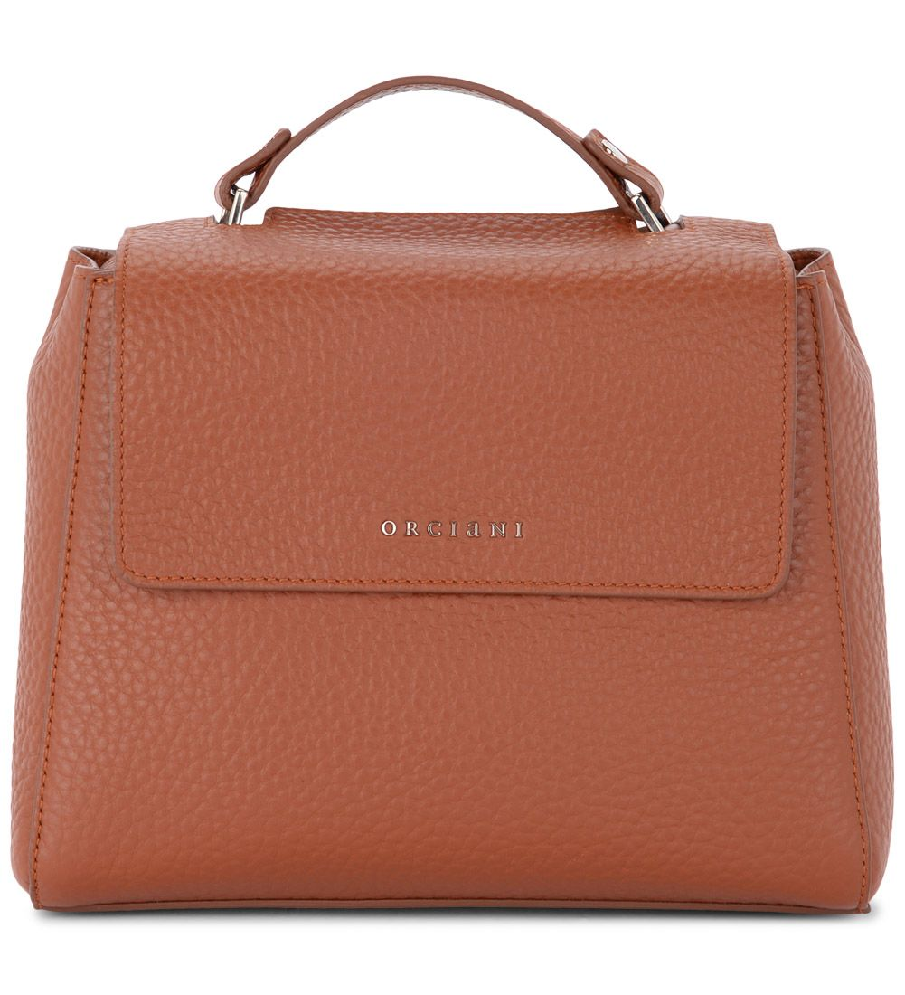 Sveva Small Tobacco Tumbled Leather Handbag, Marrone