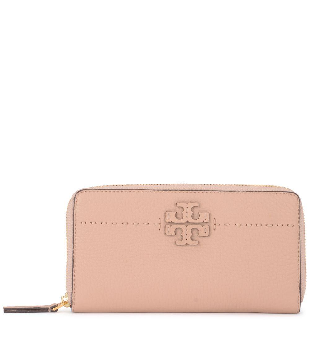 470f0289e7ea Tory Burch Modello Mcgraw Sand Tumbled Leather Wallet In Rosa ...
