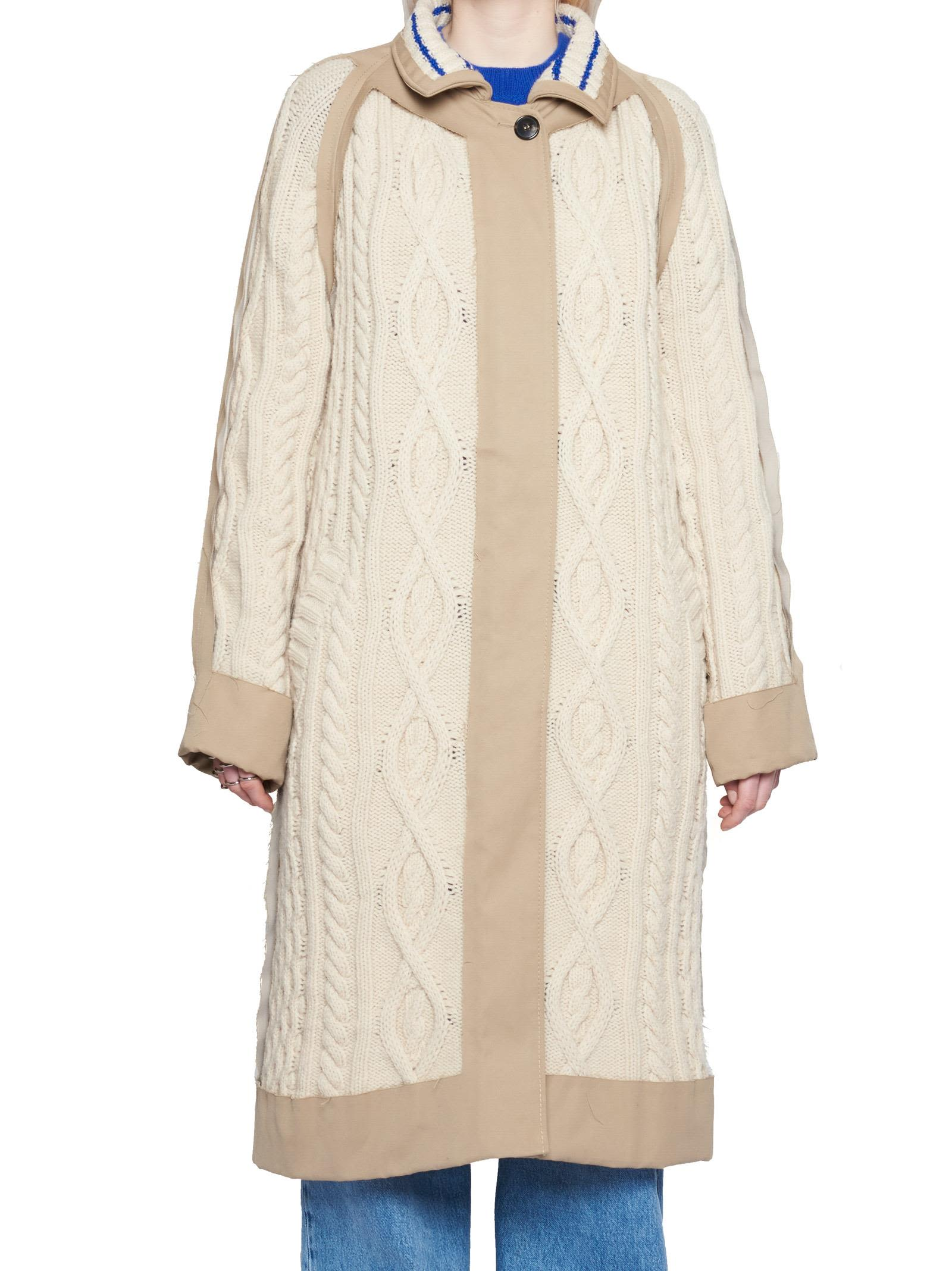 Trench Coat With Knit Insert, Beige