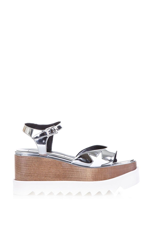 70583d47db6f Stella McCartney Elyse Faux Metallic Leather Sandals - Silver ...