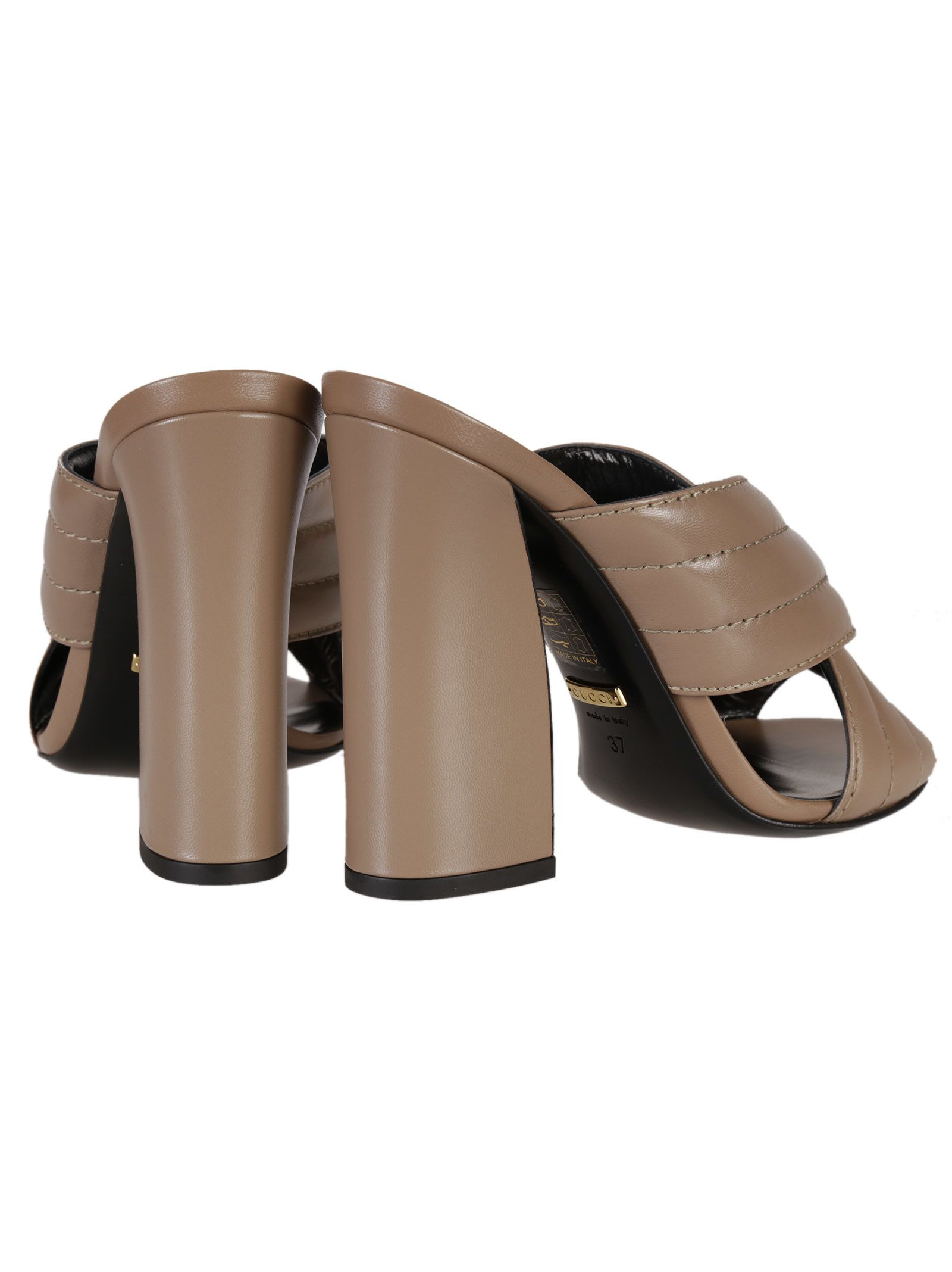 70b6f71e45b ... Gucci Leather Crossover Sandals - Neutral