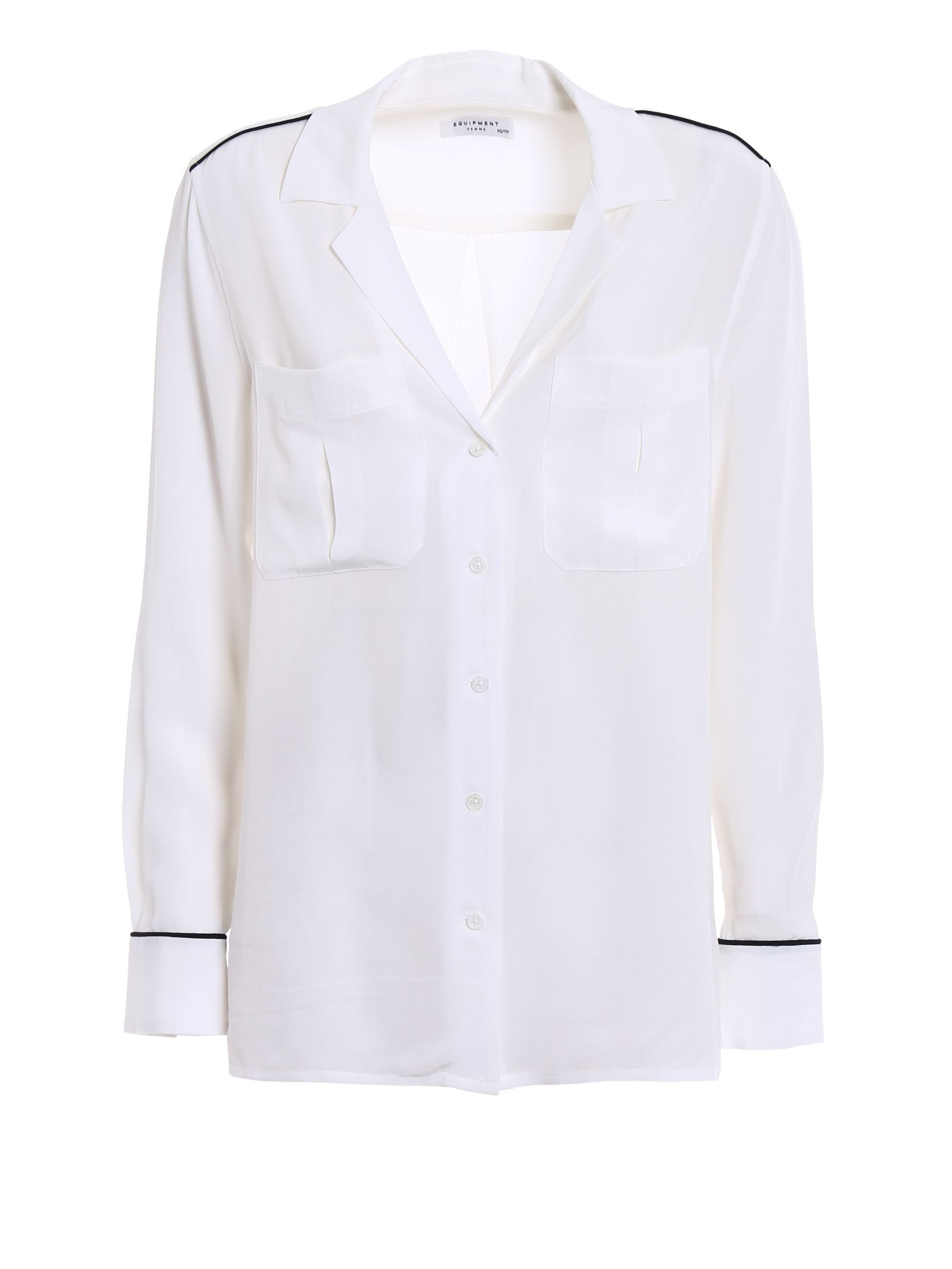 Equipment Sonny Silk Pajama Shirt - White ... 757d2a3fa