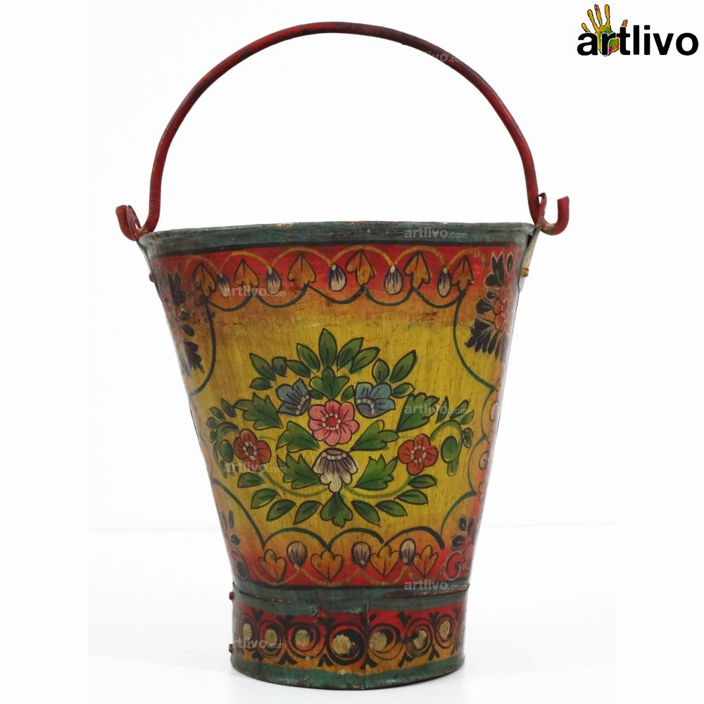 POPART Red & Yellow Flowers Iron Bucket