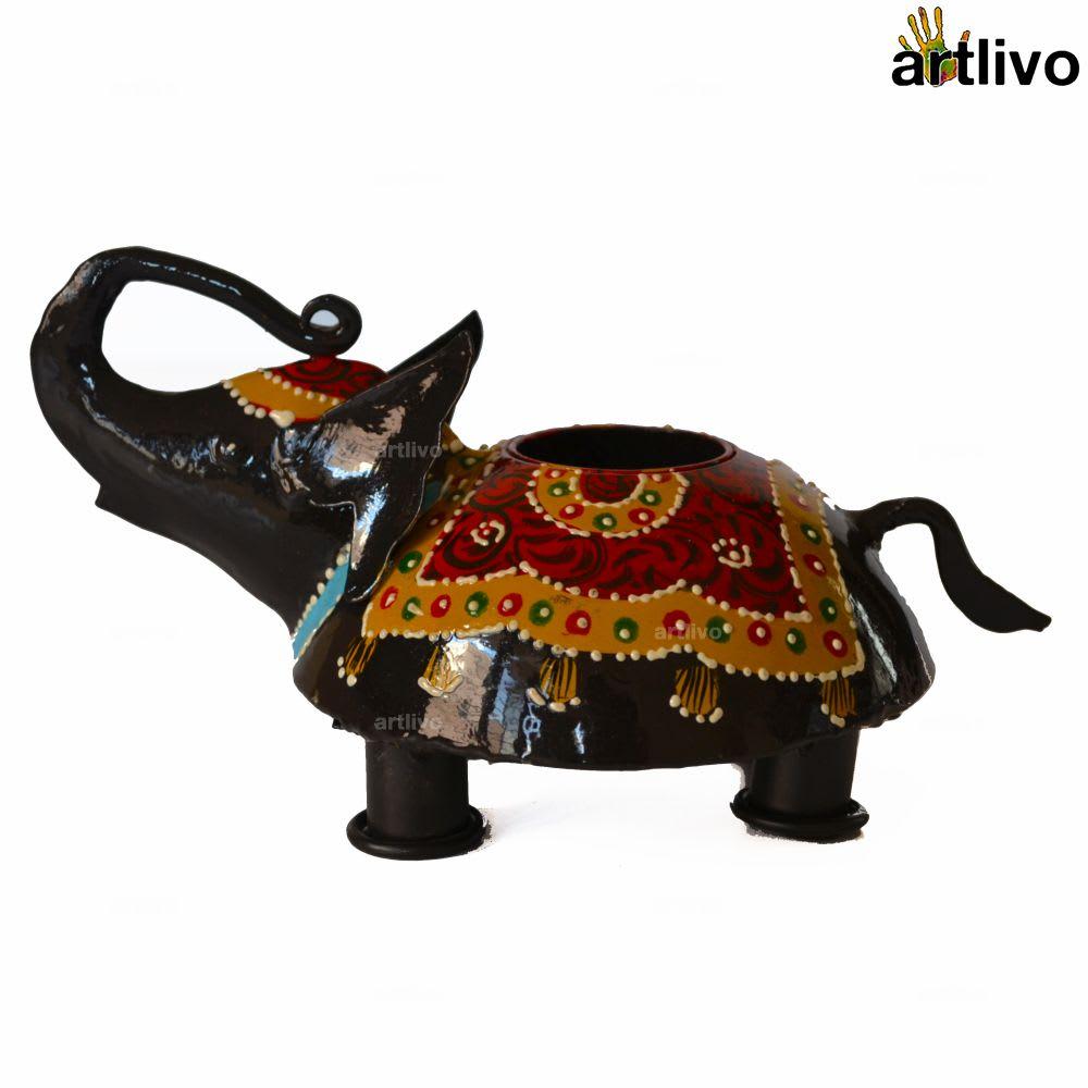 Handpainted Elephant Black Candle Holder