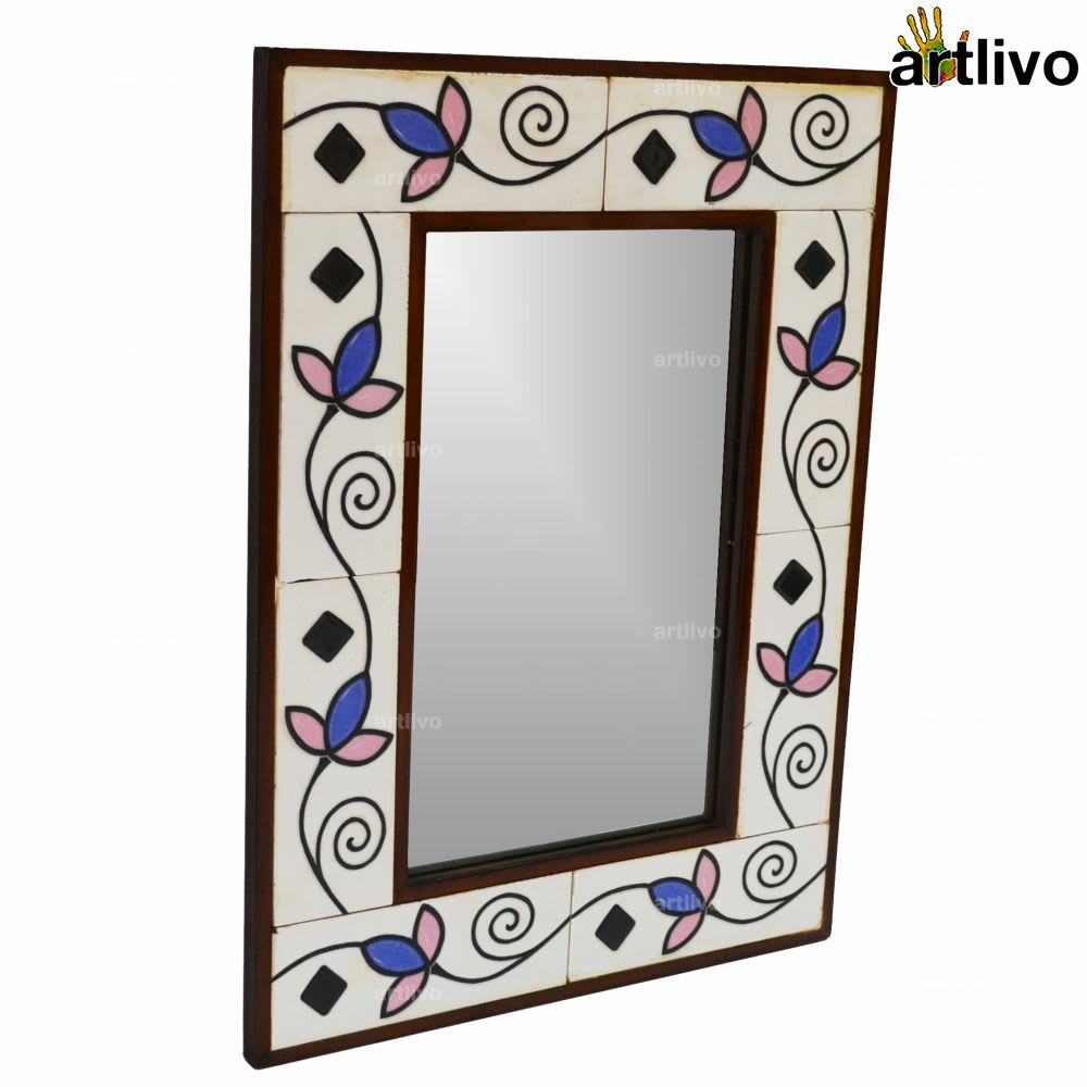 22 Inches Floral Decorative Wall Hanging Tile Mirror Frame