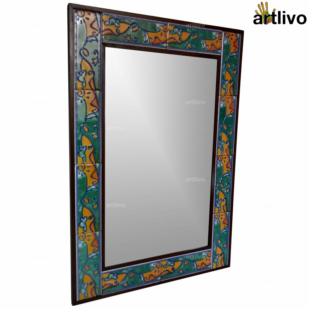 "32"" Decorative Wall Hanging Tile Mirror Frame - MR058"