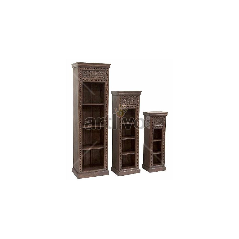 Vintage Indian Brown Deluxe Solid Wooden Teak Bookshelf