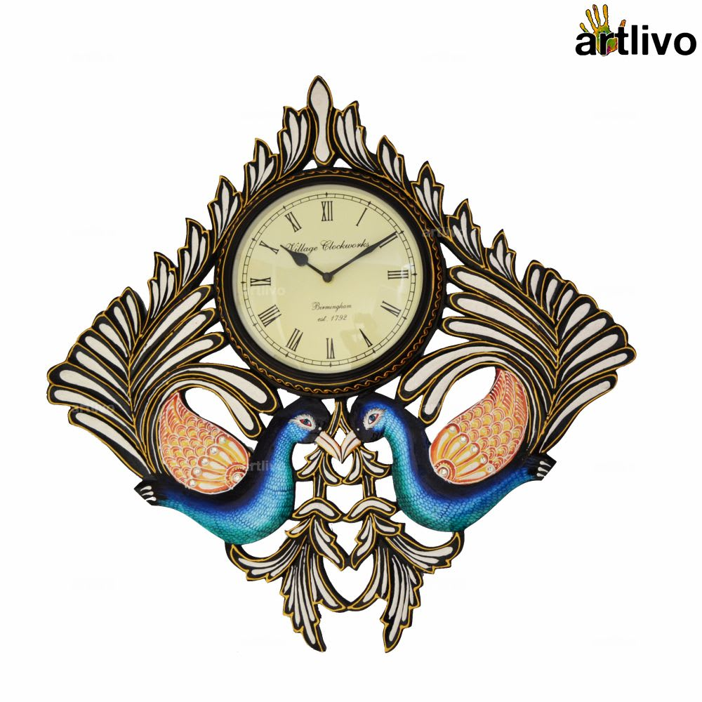 POPART Square Double Peacock Wall Clock
