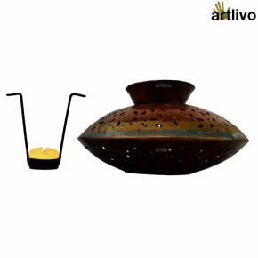 Handi Style Jaali Metallic Candle Holder with tea cup holder tray