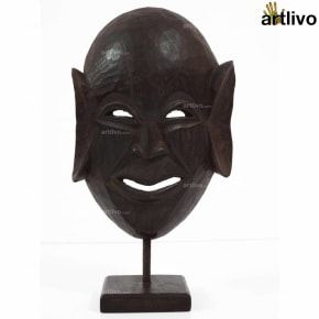 VINTAGE Single Piece Wooden Tribal Mask on Stand - MA027